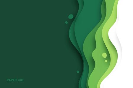 3D abstract background with green paper cut shapes. Vector design layout for business presentations, flyers, posters and invitations. Colorful carving art, environment and ecology