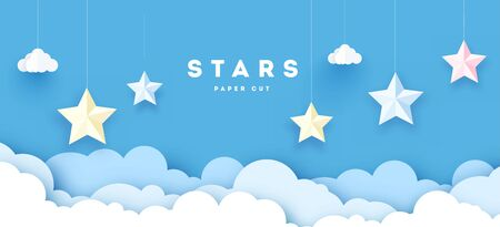 Sky paper decoration. Little paper theater: hanged moon, stars and clouds.
