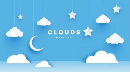 Fluffy clouds on blue sky background with stars and clouds. Vector illustration. Paper cut style. Place for text.