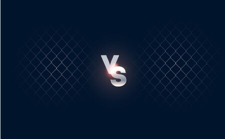 Dark Versus Battle. MMA concept - Fight night, MMA, boxing, wrestling, Thai boxing. VS collision of metal letters with sparks and glow on a red-blue background and octagon grid. Versus battle