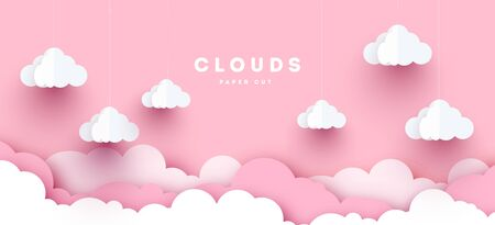 Modern Vector paper clouds and balloons. illustration. Cute cartoon fluffy clouds. Pastel colors. Origami style Stock Illustratie