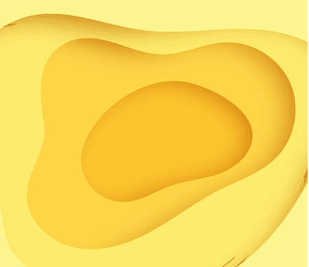 Yellow background with paper cut shapes. Vector illustration. 3D abstract carving art.