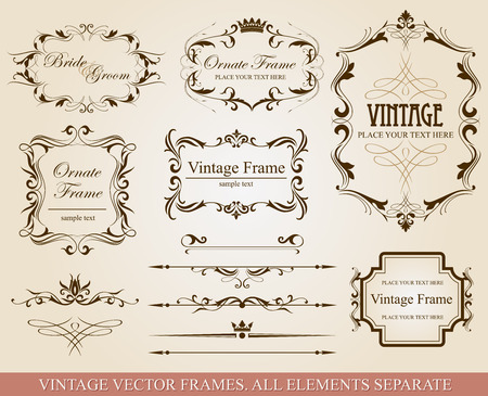 wedding clipart: Collection of different vintage frames, vector illustration, all elements separate