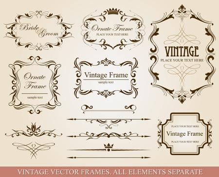 vintage borders: Collection of different vintage frames, vector illustration, all elements separate