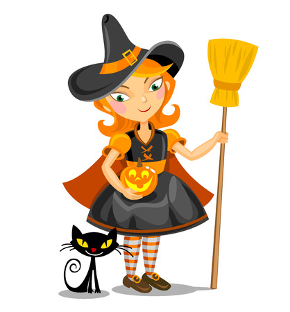 Illustration of cute witch with Jacko lantern and black cat. Vector
