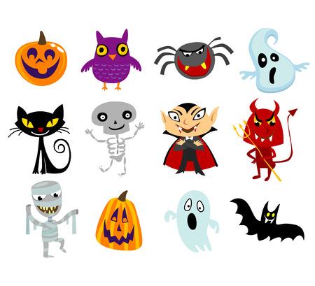 period costume: Set of funny halloween cartoons