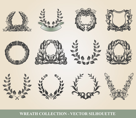wreath of wheat: Set from laurel wreath on the white background Illustration
