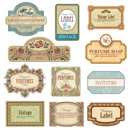 Sierlijke vintage labels. Alle elementen afzonderlijk.