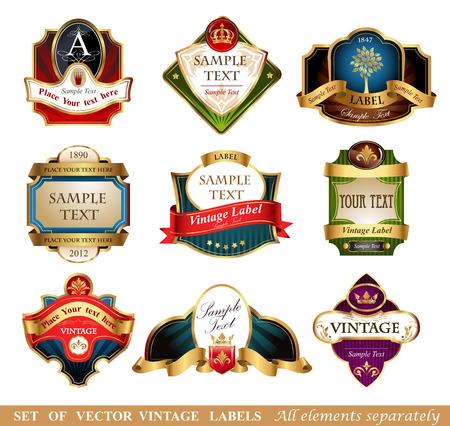 Verzameling van gouden sierlijke vector labels, 9 verschillende stijlen Stock Illustratie