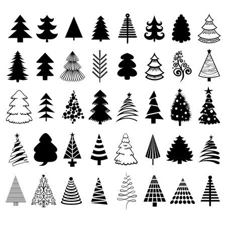 tree trimming: Christmas trees. Vector Illustration