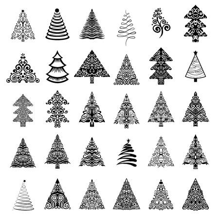 fur tree ornament: Christmas trees. Vector Illustration