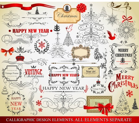 victorian christmas: Set of calligraphic and typographic elements