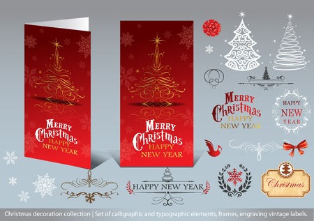 hollies: Christmas decoration collection - Set of calligraphic and typographic elements, frames, engraving vintage labels and Greeting cards.