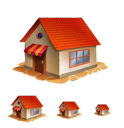 small town life: Illustration of detailed house icon isolated on white background. Stock Photo