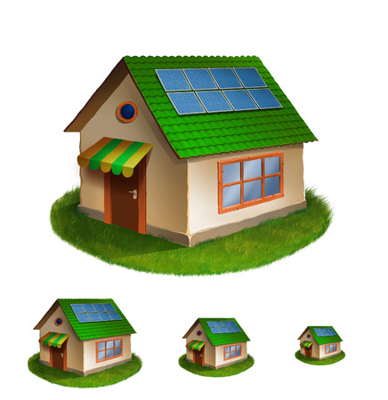 country life: Illustration of detailed Eco house icon isolated on white background. Stock Photo