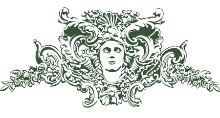 eye tattoo: Womans face with branches and flowers woven into the hair. Decorative element of the facade of a historic building. Vector illustration