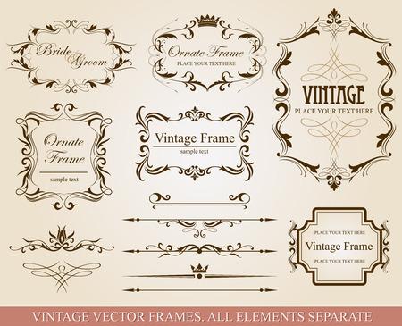 Verzameling van verschillende vintage frames, vector illustratie, alle elementen afzonderlijk