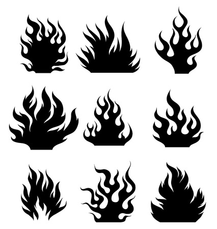 Set og black and white fire design elements for tattoo. Ilustração