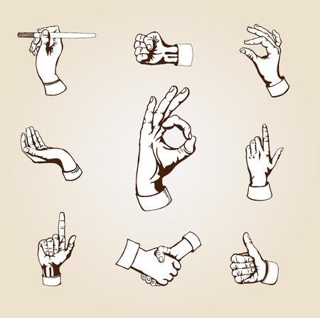 Set of  retro design elements - vector hands.