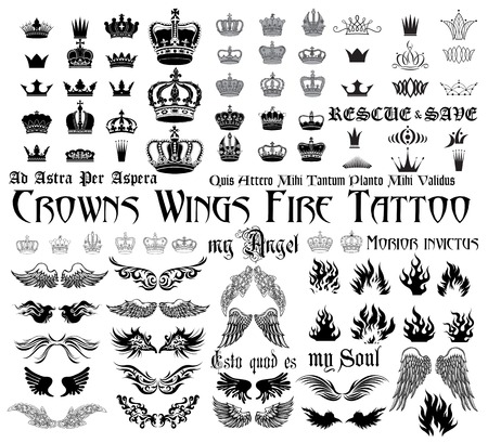 grunge wings: Set og black and white design elements for tattoo monograms.