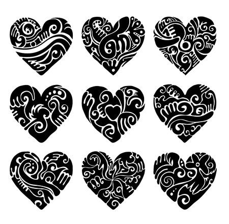 sophistication: Vector corazones tribales en blanco para tatuaje y negro. Vectores