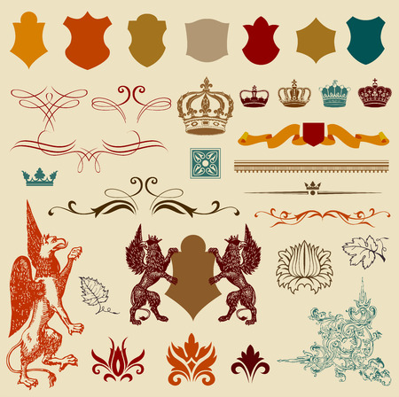 queen silhouette: Set of retro ornaments,page decoration, antique and baroque frames.