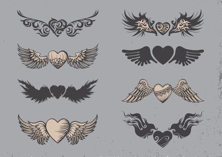 coeur diamant: Set de tatouage coeurs noirs avec des ailes.