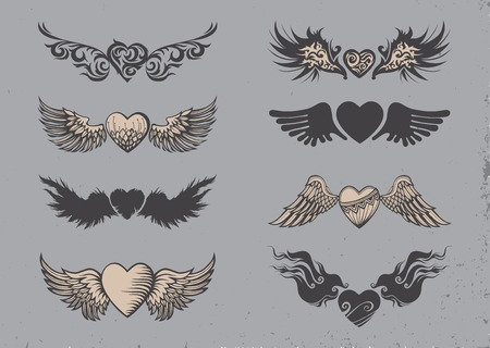 sword and heart: Set of tattoo black hearts with wings.