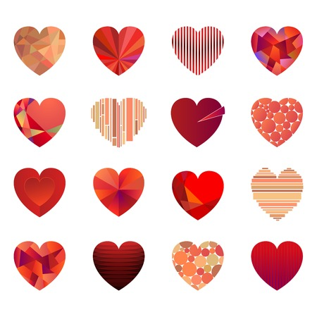 Vector hearts set for wedding and valentine design Vector