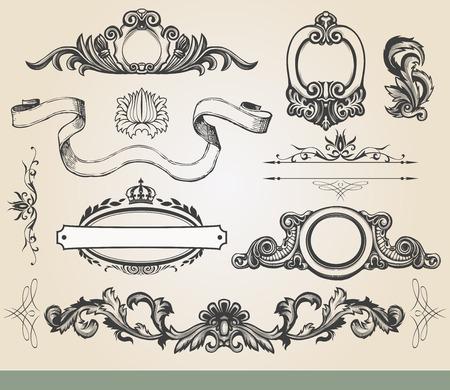 scroll banner: Vintage luxury decorative ornate shield, page decoration. Illustration