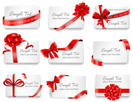 Set of beautiful cards with red gift bows with ribbons. Vector illustration.