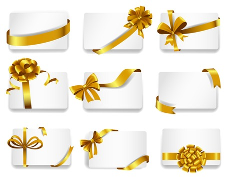 desires: Set of beautiful cards with gold gift bows with ribbons.