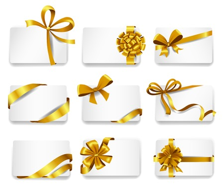 Set of beautiful cards with gold gift bows with ribbons.