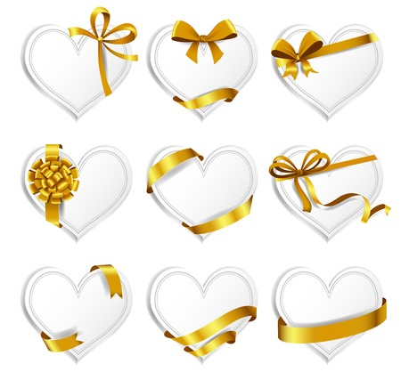 Set of beautiful heart-shaped cards with gold gift bows with ribbons.  Ilustração