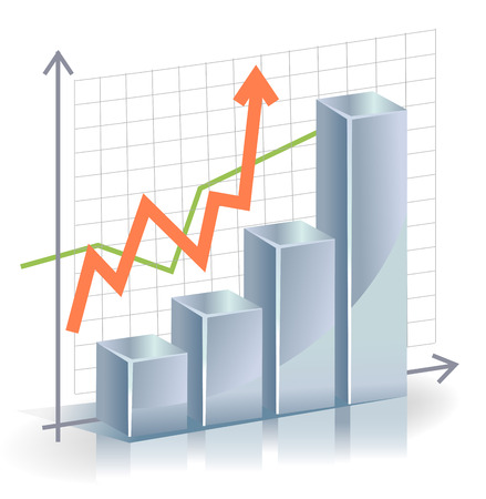Business graph: Business vector Graph with arrow showing profits and gains