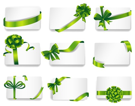 desires: Set of beautiful cards with green gift bows with ribbons.  Illustration