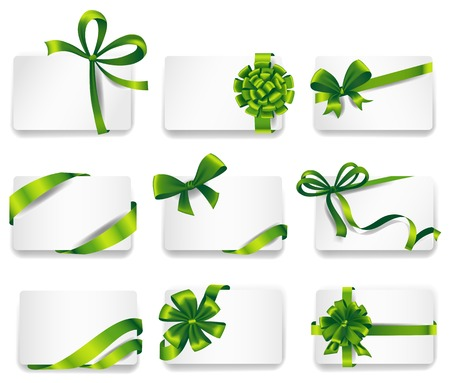 desires: Set of beautiful cards with green gift bows with ribbons. Vector illustration. Illustration