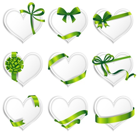 secret love: Set of beautiful heart-shaped cards with green gift bows with ribbons.