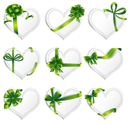 heartshaped: Set of beautiful heart-shaped cards with green gift bows with ribbons.