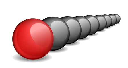 extremely: Unique red ball, individuality, vector illustration.