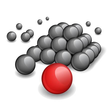 red sphere: Piramide top - una sfera rossa unica in un fondo di piramide