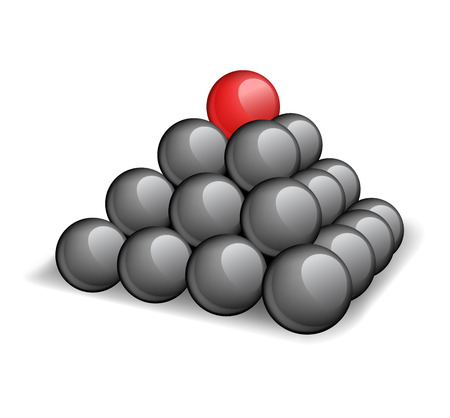 red sphere: Piramide top - una sfera rossa unica in un top a piramide Vettoriali