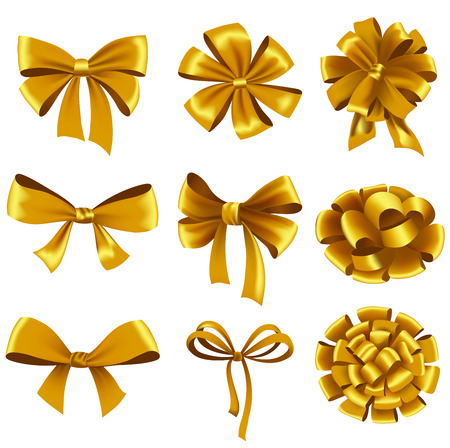 Set of gold gift bows with ribbons. Vector illustration. Ilustrace