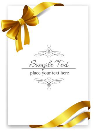 Gold gift bow with ribbons. Vector illustration.