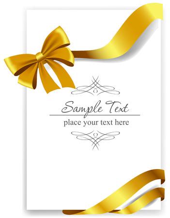 secret love: Arco de regalo de oro con cintas. Ilustraci�n del vector.