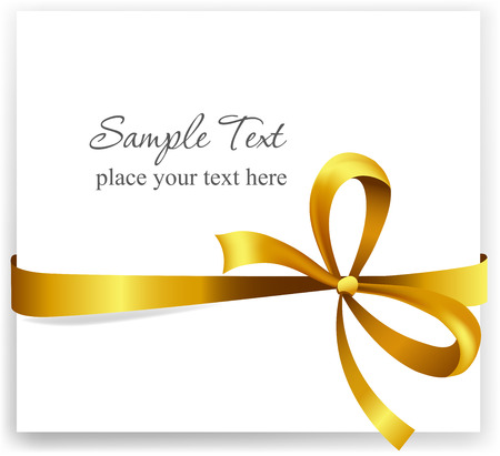 Gouden geschenk boog met linten. Vector illustratie.