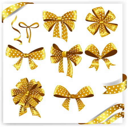 secret love: Set of gold polka dot gift bows with ribbons. Vector illustration. Illustration