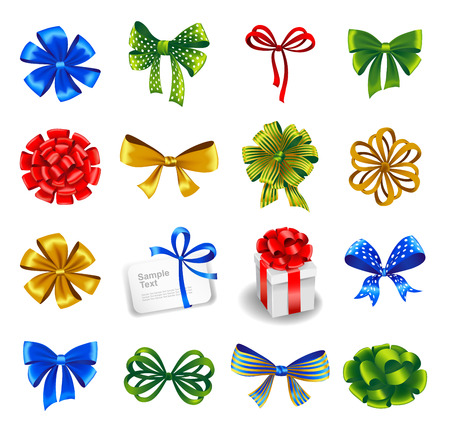 ribbons and bows: Set of gift bows with ribbons. Vector illustration.