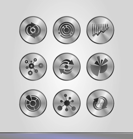 Vector illustration of silver business icons in round frames. Vector