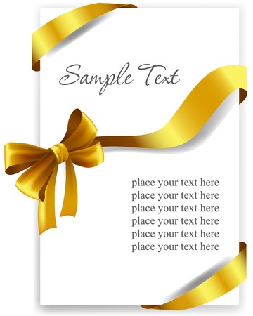 curling: Gold gift bow with ribbons. Vector illustration.